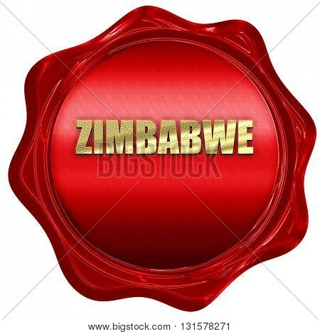 zimbabwe, 3D rendering, a red wax seal