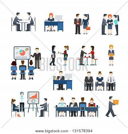Office life vector icon set. Flat style working people concept.