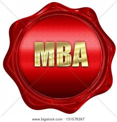 mba, 3D rendering, a red wax seal