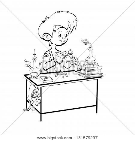 Chemistry, boy schoolboy pours vials line art. The science of chemistry. The school and education. Chemical experience. Black and white illustration for coloring