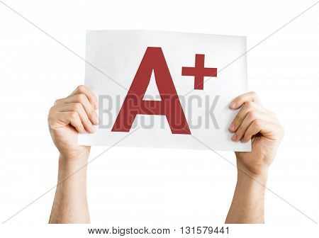 A+ placard isolated on white