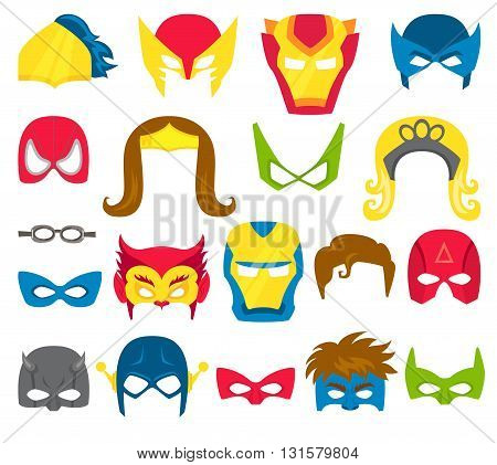 Super hero masks set. Superhero masks for face character in flat style. Masks of heroic, savior and superhero. Comic super hero masks vector illustration. Super hero photo props. Super hero face