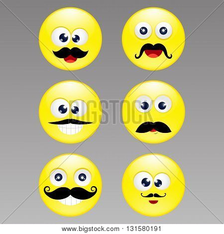 set emoticons with mustache, vector illustration, eps 10