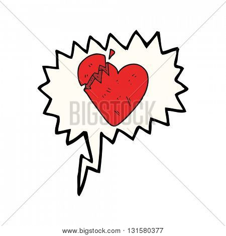 freehand drawn speech bubble cartoon broken heart