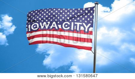 iowa city, 3D rendering, city flag with stars and stripes