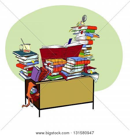 School Desk with books, literature and the library line art. Reading and education