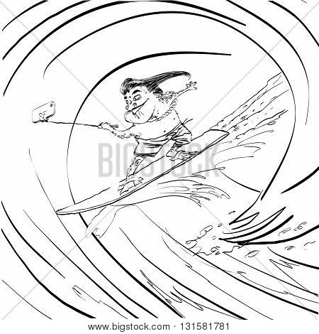 Surfer frog selfie wave line art. Water sports. Frog extreme. Black and white illustration to paint