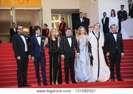Cristian Mungiu, Maria Dragus, Adrian Titieni and Lia Bugnar attends the 'Graduation (Bacalaureat)' Premiere during the 69th Cannes Film Festival at the Palais on May 19, 2016 in Cannes, France.