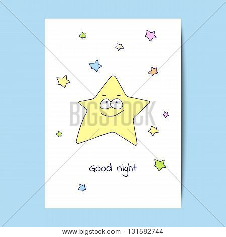 Card design with cartoon stars on the white background. Vector illustration.