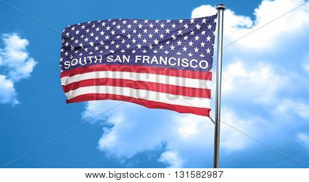 south san francisco, 3D rendering, city flag with stars and stri