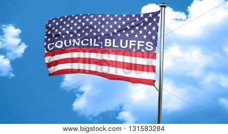 council bluffs, 3D rendering, city flag with stars and stripes