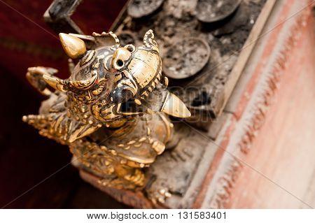 Bronze guardian lion in Kathmandu before earthquake, Nepal