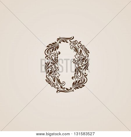 Richly decorated zero digit on beige background.