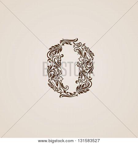 Richly decorated zero digit on beige background.