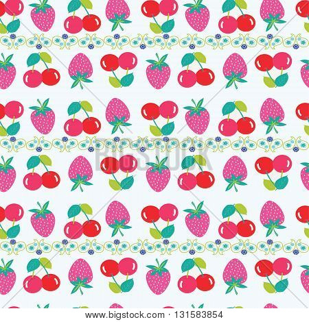 Seamless vector pattern with strawberries and cherries. Background with Cherry and strawberry for fabrics textiles paper wallpaper. Vector summer fruit illustration.