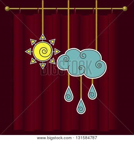 Vector weather forecast. Cloud, rain and sun