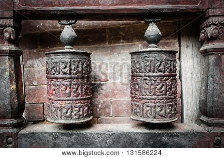 Buddhist prayer wheels detail at Bhaktapur Nepal