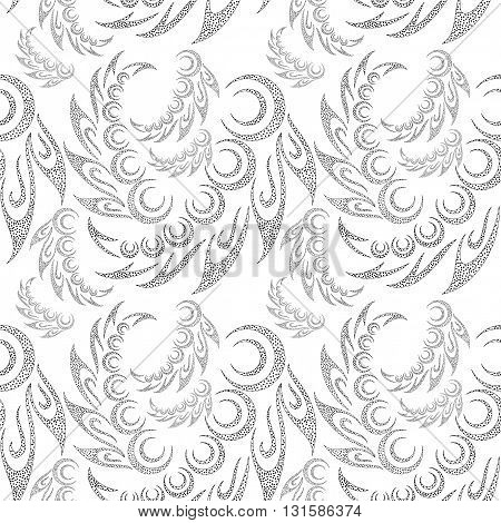 Abstract Seamless Background with Symbolical Contour Patterns and Floral Ornaments. Vector