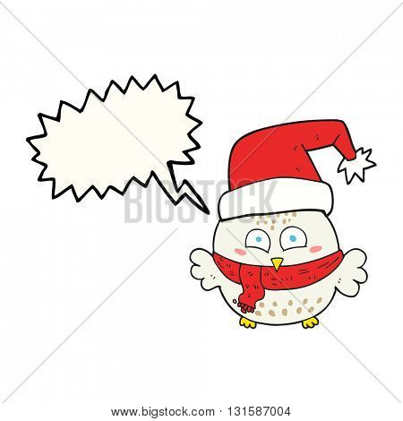 freehand drawn speech bubble cartoon cute christmas owl