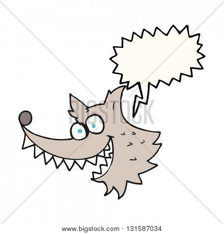 freehand drawn speech bubble cartoon crazy wolf