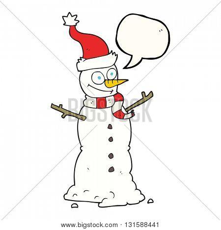 freehand drawn speech bubble cartoon snowman