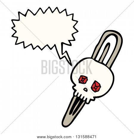 freehand drawn speech bubble cartoon skull hairclip