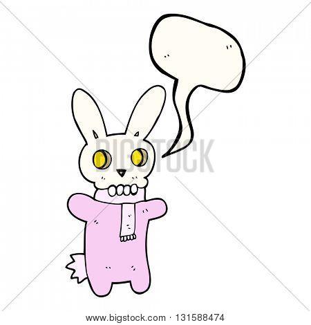 freehand drawn speech bubble cartoon spooky skull rabbit