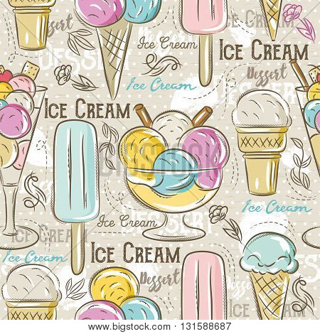 Background with ice cream. Ideal for printing onto fabric and paper or scrap booking.Vector illustration