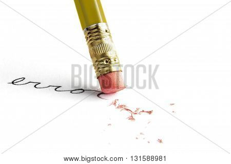 Closeup of a pencil erasing an