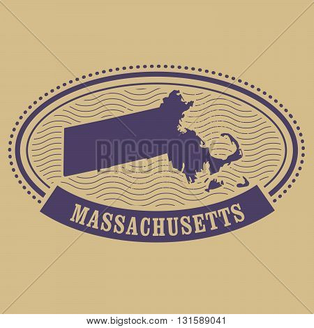 Massachusetts state map silhouette - oval stamp