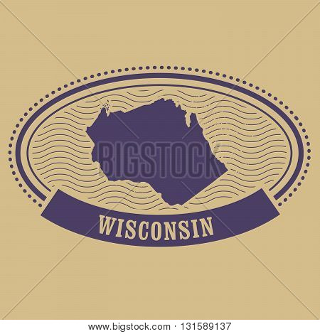 Wisconsin state map silhouette - oval stamp