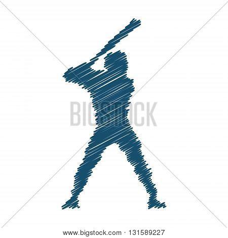 Vector hatched figure baseball player. Modern symbol of baseball on white background.