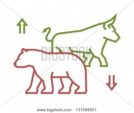 Linear stock logo and symbol. Line design concept for stock market. Vector silhouette figures bull and bear.