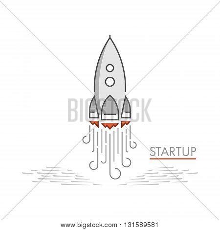 Vector line rocket design concept for startup. Line creative style concept for web startup.