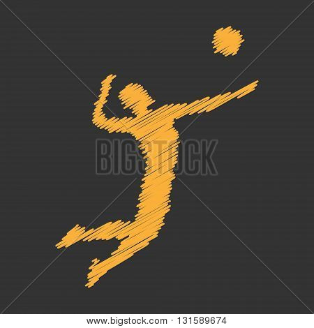 Gold vector volleyball icon. Cool volleyball players silhouette. Modern volleyball logo.