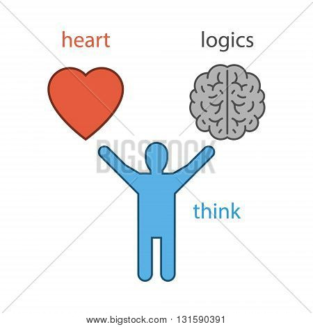 Vector concept of heart or the logic of choice. Isolated symbol.