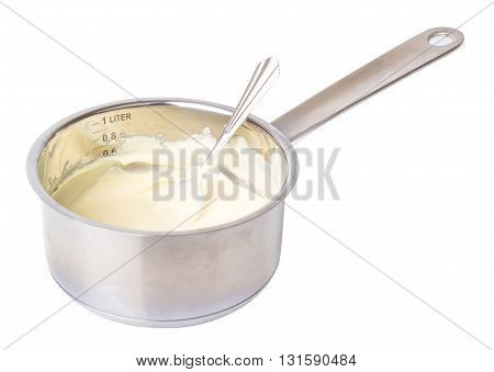 Liquid white chocolate on a white background