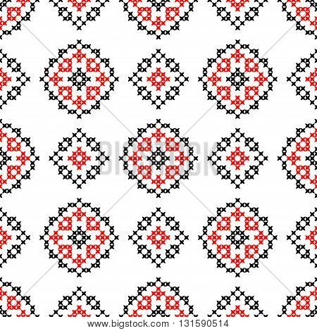 Isolated seamless texture with red and black abstract patterns for tablecloth. Embroidery. Cross stitch