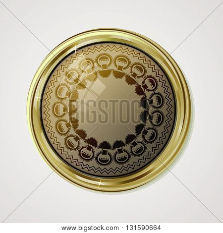 Vip gold label. Reliability and comfort. Light brown glossy stone  in gold with reflection and shine. Vector label for text on white background