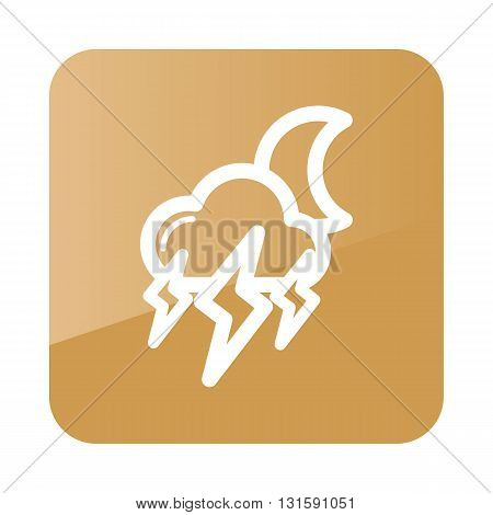 Moon Storm Cloud Lightning outline icon. Sleep night dreams symbol. Meteorology. Weather. Vector illustration eps 10