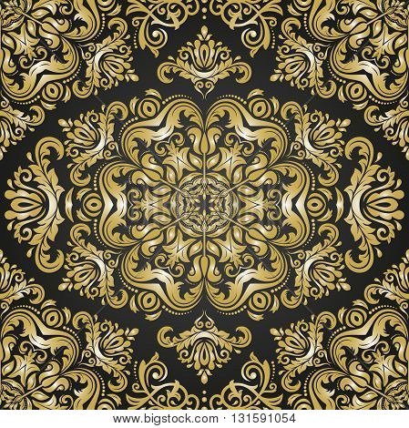 Oriental vector classic pattern. Seamless abstract background with repeating elements. Black and golden patter
