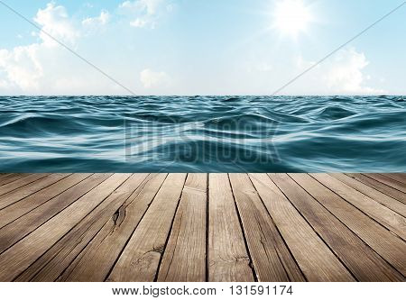 Blue ocean and clear sky with wooden table