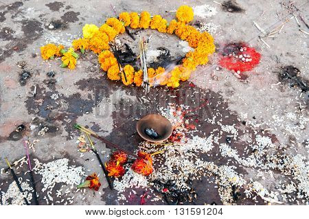 Flower offers in a hindu temple, Varanasi, India
