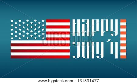 Happy July 4 traditional vector lettering with US flag