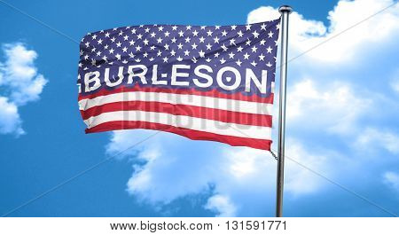 burleson, 3D rendering, city flag with stars and stripes