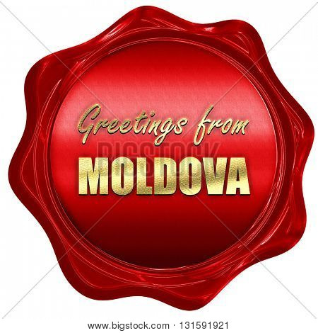 Greetings from moldova, 3D rendering, a red wax seal