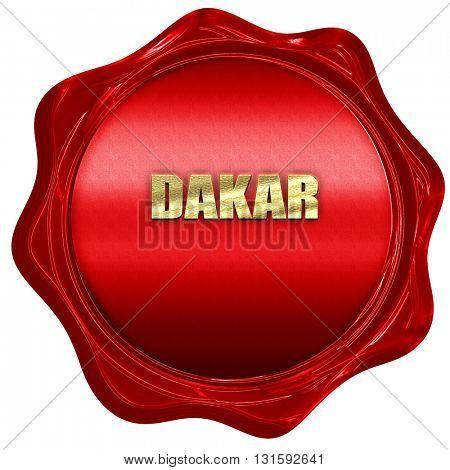 dakar, 3D rendering, a red wax seal