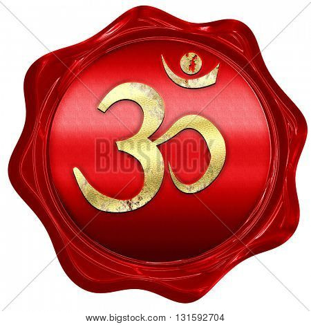 Om sign icon, 3D rendering, a red wax seal