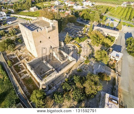 Aerial view of the medieval castle of Kolossi. It is situated in the south of Cyprus in Limassol. The castle dates back to the crusades and it constitutes a landmark of the area.