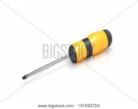 Illustration depicting a screwdriver arranged over white.
